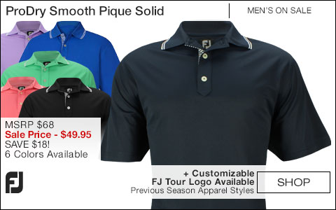 FJ ProDry Performance Smooth Pique Solid Golf Shirts - FJ Tour Logo Available - ON SALE
