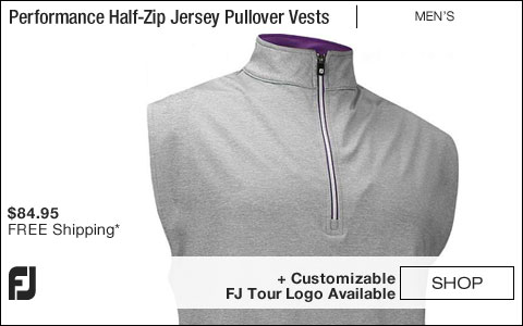 FJ Performance Half-Zip Jersey Pullover Golf Vests with Gathered Waist - Grey - FJ Tour Logo Available