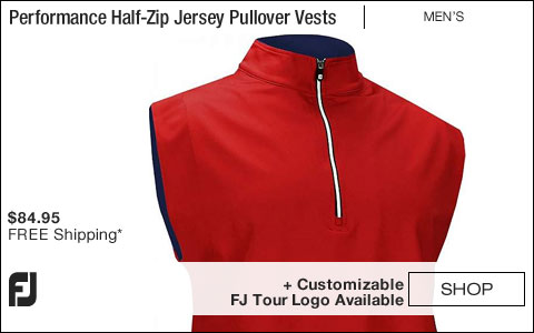 FJ Performance Half-Zip Jersey Pullover Golf Vests with Gathered Waist - Red - FJ Tour Logo Available