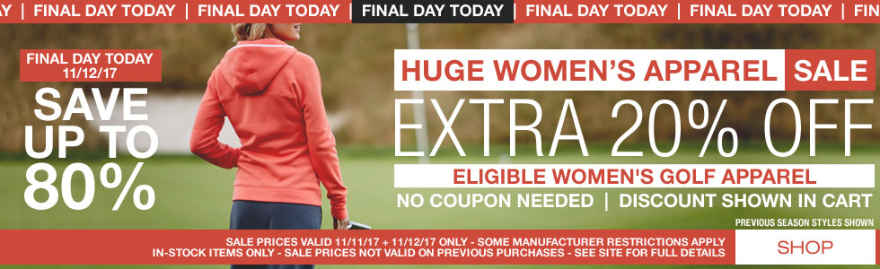 Final Day Today - Huge Women's Apparel Sale - Extra 20% Off - Save up to 80%