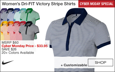 Nike Women's Dri-FIT Victory Stripe Golf Shirts - CYBER MONDAY SPECIAL