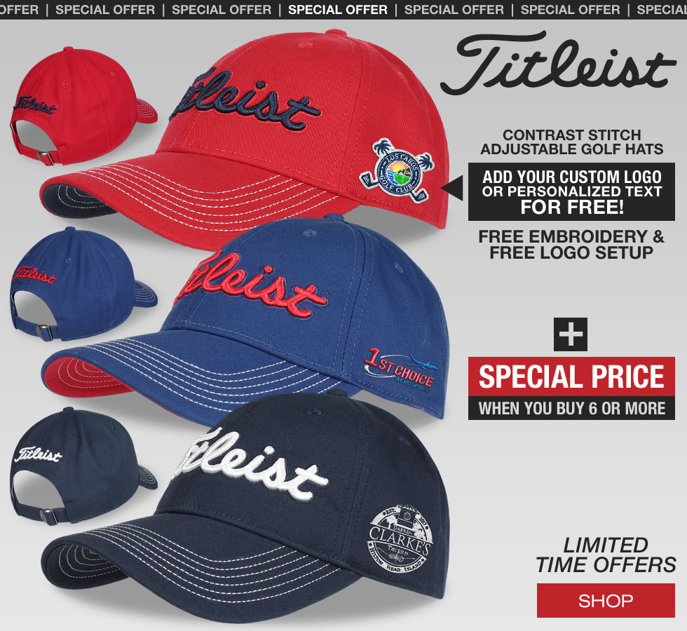 Special Offer on Custom Logo Titleist Contrast Stitch Adjustable Golf Hats