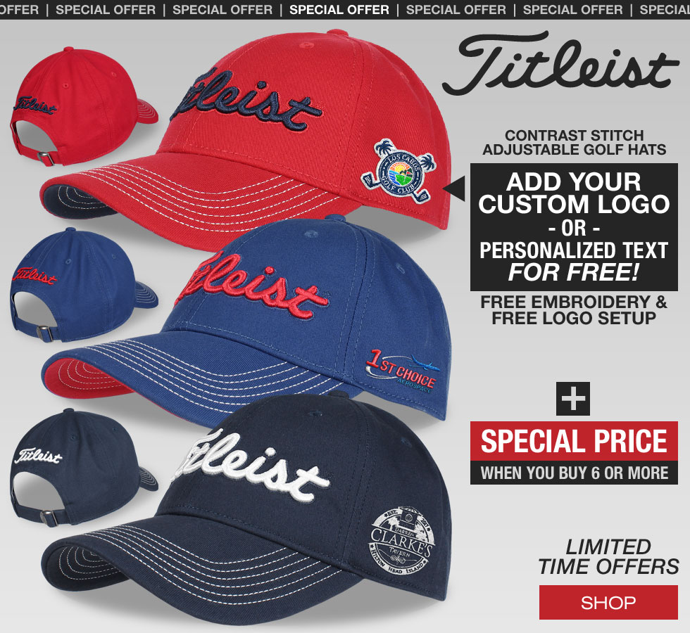 Special Offer on Custom Titleist Contrast Stitch Golf Hats