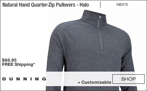 Dunning Natural Hand Quarter-Zip Golf Pullovers - Halo