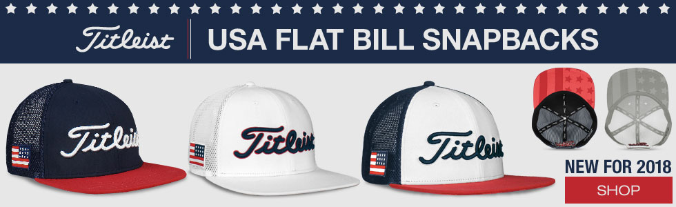 Titleist USA Flag Tour Flat Bill Snapback Mesh Adjustable Golf Hats