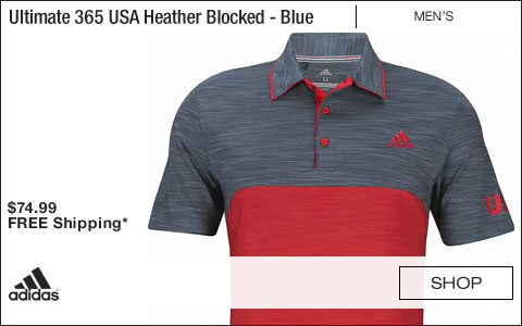 Adidas Ultimate 365 USA Heather Blocked Golf Shirts - Mineral Blue