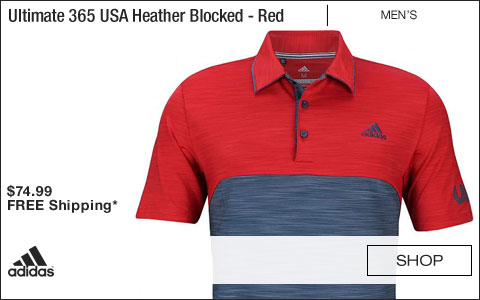 Adidas Ultimate 365 USA Heather Blocked Golf Shirts - Scarlet Red