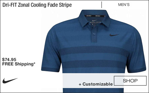 Nike Dri-FIT Zonal Cooling Fade Stripe Golf Shirts - Gym Blue