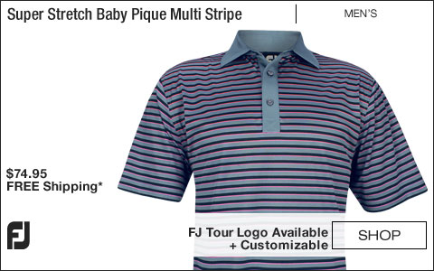 FJ Super Stretch Baby Pique Multi Stripe Self Collar Golf Shirts - Slate - FJ Tour Logo Available