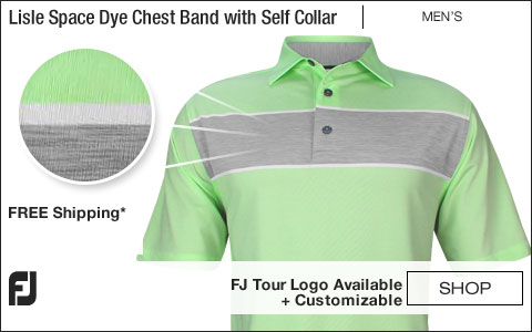 FJ Lisle Space Dye Chest Band Golf Shirts with Self Collar - FJ Tour Logo Available