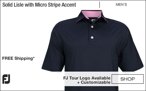 FJ Solid Lisle with Micro Stripe Accent Self Collar Golf Shirts - Navy - FJ Tour Logo Available