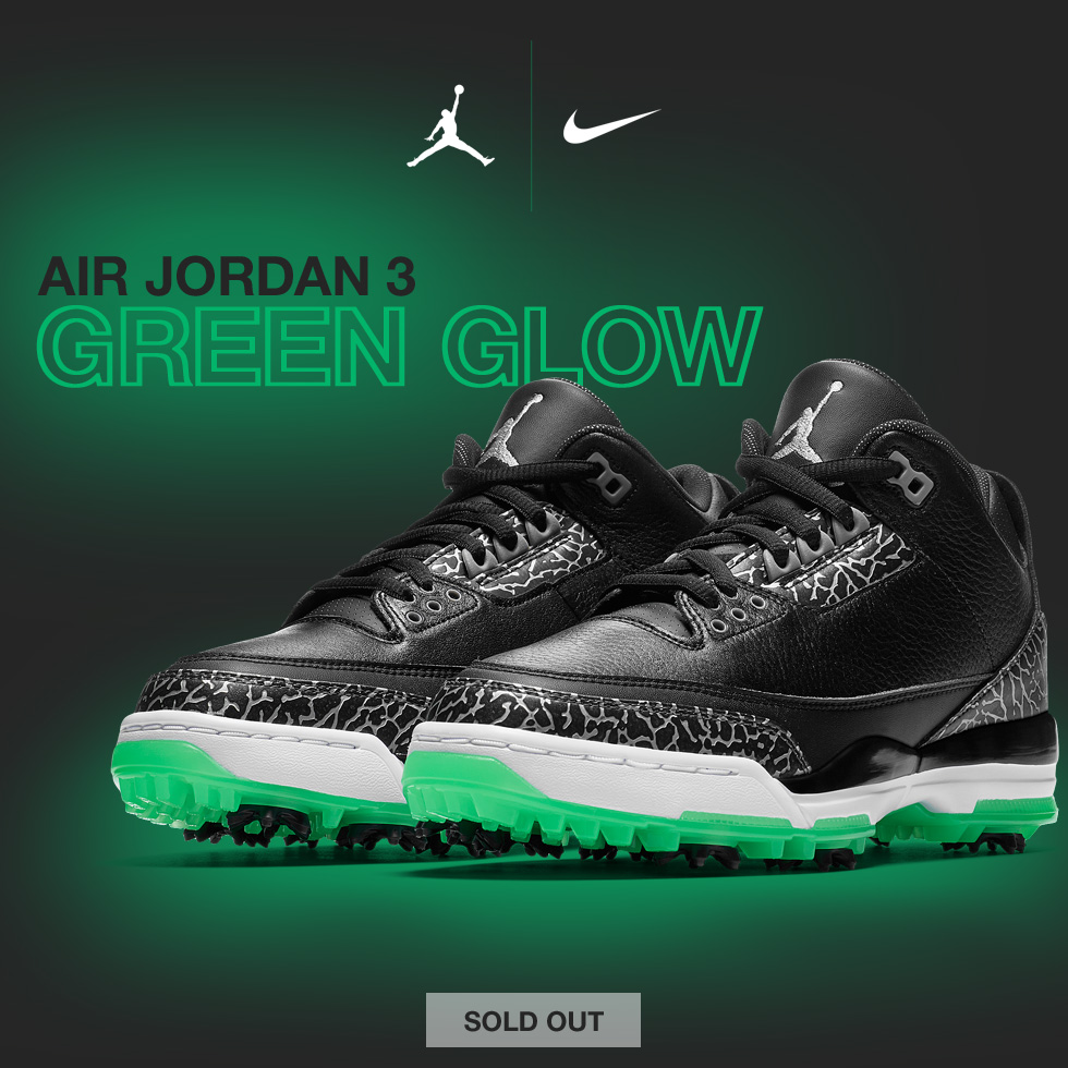 e32aa2ee932514 Nike Air Jordan 3 Golf Shoes - Black with Green Glow - Now Available for a