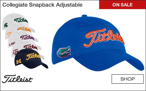 Titleist Collegiate Snapback Adjustable Golf Hats - ON SALE c5d57358083