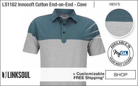 Linksoul LS1182 Innosoft Cotton End-on-End Colorblock Golf Shirts - Cove