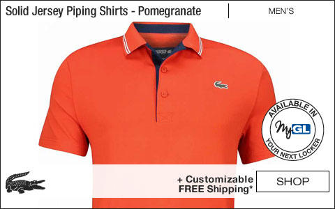 Lacoste Solid Jersey Contrast Piping Golf Shirts - Pomegranate - New for Fall 2018 at Golf Locker