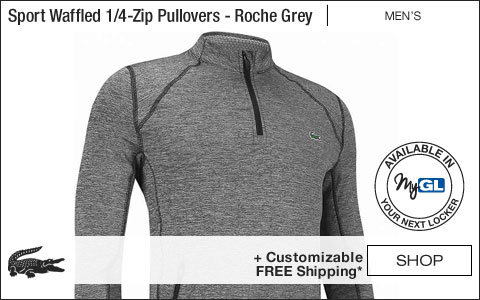 Lacoste Sport Waffled Quarter-Zip Golf Pullovers - Roche Grey - New for Fall 2018 at Golf Locker