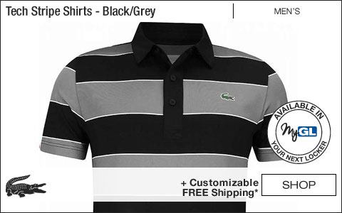 Lacoste Tech Stripe Golf Shirts - Black and Grey - New for Fall 2018 at Golf Locker