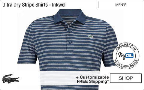 Lacoste Ultra Dry Stripe Golf Shirts - Inkwell - New for Fall 2018 at Golf Locker