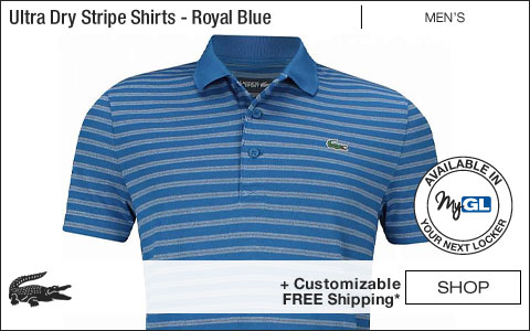 Lacoste Ultra Dry Stripe Golf Shirts - Royal Blue - New for Fall 2018 at Golf Locker