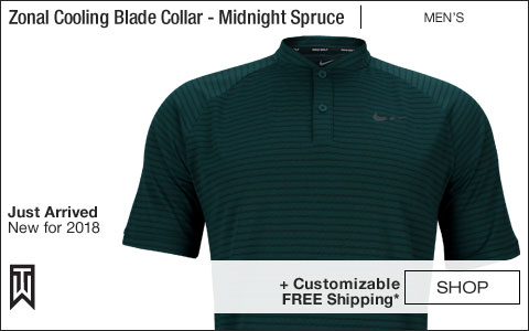 Nike Dri-FIT Tiger Woods Zonal Cooling Blade Collar Golf Shirts - Midnight Spruce