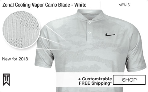 Nike Dri-FIT Tiger Woods Zonal Cooling Vapor Camo Blade Collar Golf Shirts - White