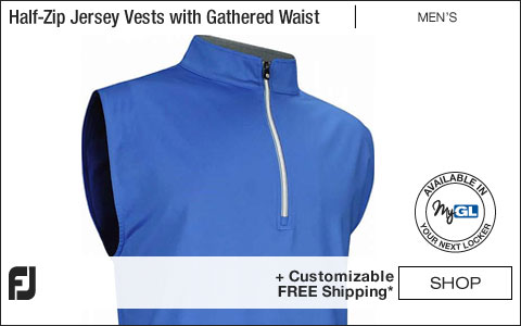 FJ Performance Half-Zip Jersey Pullover Golf Vests with Gathered Waist - FJ Tour Logo Available - Marine