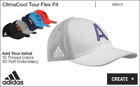 Adidas 'Your Initial' ClimaCool Tour Flex Fit Golf Hats