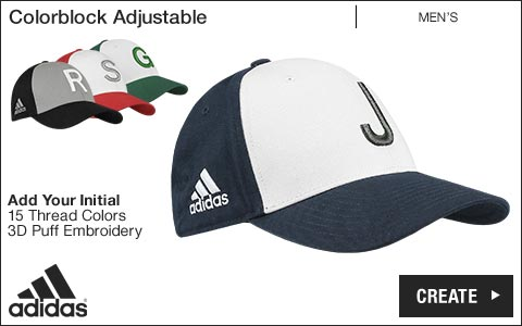 Adidas 'Your Initial' Colorblock Adjustable Golf Hats