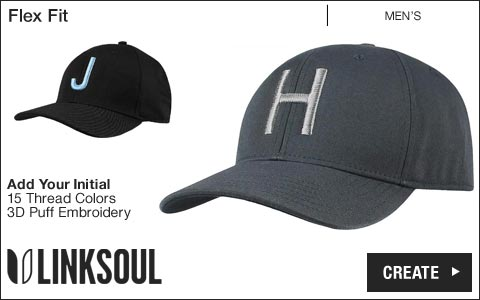 Linksoul 'Your Initial' Flex Fit Golf Hats