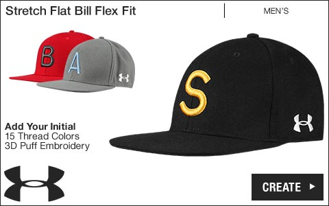 Under Armour 'Your Initial' Stretch Flat Bill Flex Fit Golf Hats