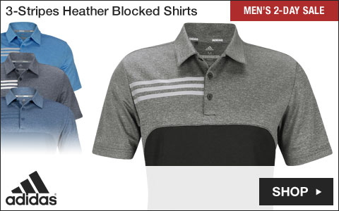Adidas 3-Stripes Heather Blocked Golf Shirts - Two-Day Sale