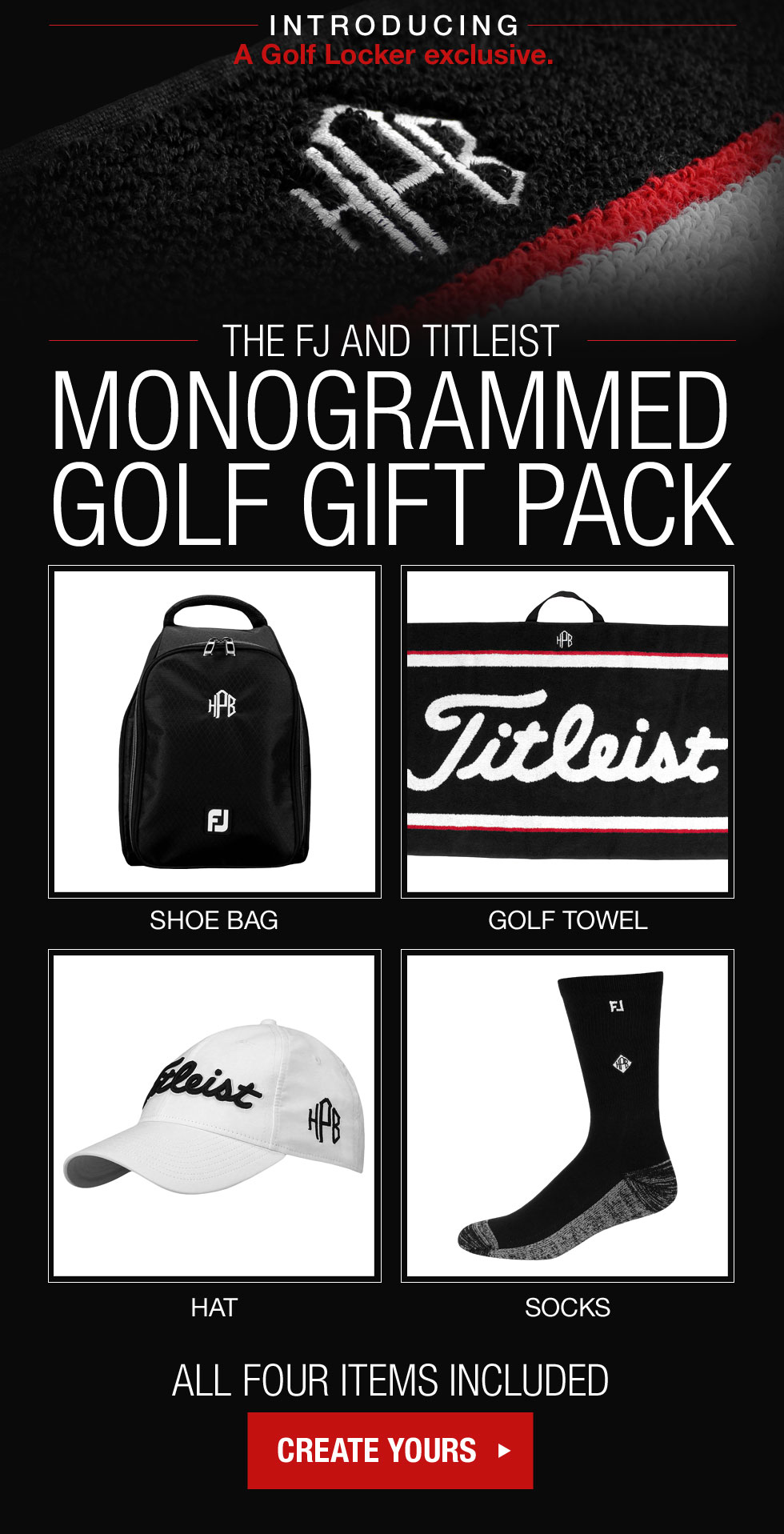 The Titleist and FJ Monogrammed Gift Pack - a Golf Locker Exclusive.
