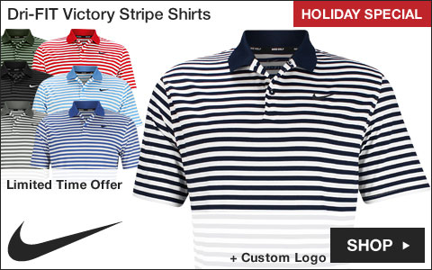 Nike Dri-FIT Victory Stripe Golf Shirts - Holiday Special