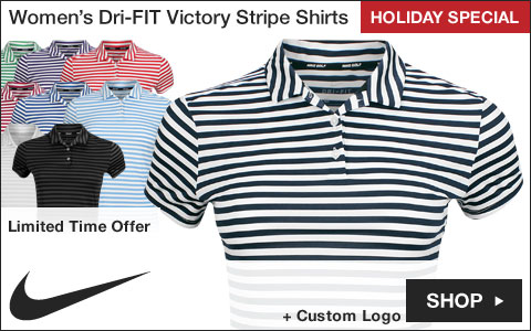 Nike Women's Dri-FIT Victory Stripe Golf Shirts - Holiday Special