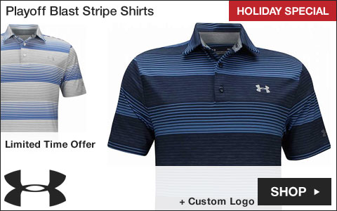 Under Armour 	Playoff Blast Stripe Golf Shirts - HOLIDAY SPECIAL
