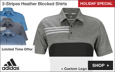 Adidas 3-Stripes Heather Blocked Golf Shirts - HOLIDAY SPECIAL