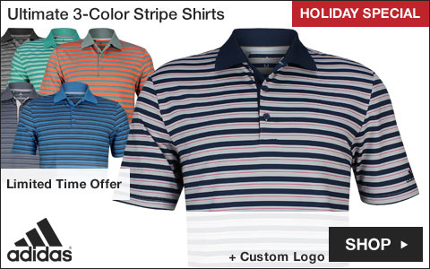 Adidas Ultimate 3-Color Stripe Golf Shirts - HOLIDAY SPECIAL