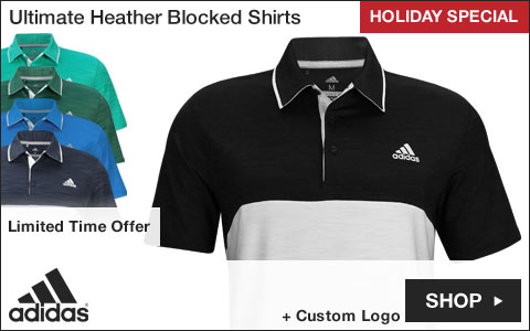 Adidas Ultimate Heather Blocked Golf Shirts - HOLIDAY SPECIAL