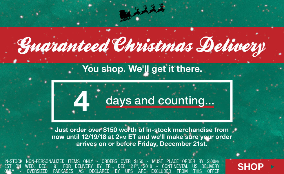 Guaranteed Christmas Delivery - Free Shipping Method Upgrade - 4 Days Left - Click for Details