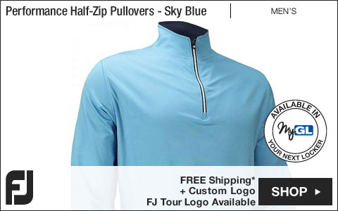 FJ Performance Half-Zip Golf Pullovers with Gathered Waist - FJ Tour Logo Available - Sky Blue