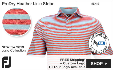 FJ ProDry Heather Lisle Stripe Golf Shirts - Juno Beach Collection - FJ Tour Logo Available