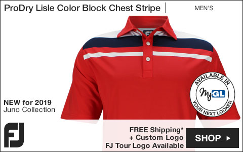 FJ ProDry Lisle Color Block Chest Stripe Golf Shirts - Juno Beach Collection - FJ Tour Logo Available