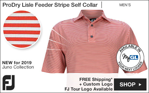 FJ ProDry Lisle Feeder Stripe Self Collar Golf Shirts - Juno Beach Collection - FJ Tour Logo Available