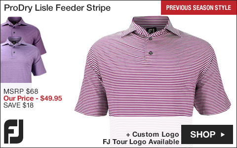 FJ ProDry Lisle Feeder Stripe Self Collar Golf Shirts - FJ Tour Logo Available - Previous Season Style