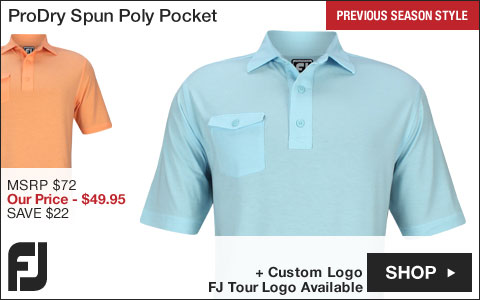 FJ ProDry Performance Spun Poly Pocket Golf Shirts - Athletic Fit - FJ Tour Logo Available - Previous Season Style