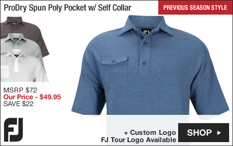 FJ ProDry Performance Spun Poly Pocket Golf Shirts with Self Collar - FJ Tour Logo Available - Previous Season Style
