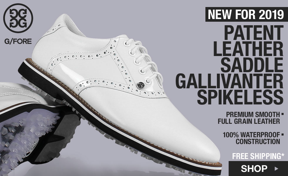 New G/FORE Patent Leather Saddle Gallivanter Spikeless Golf Shoes