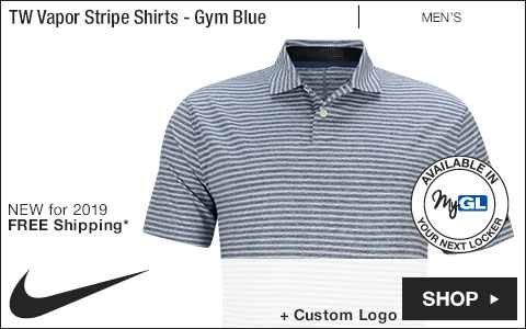 Nike Tiger Woods Vapor Stripe Golf Shirts - Gym Blue