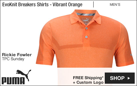 PUMA EvoKnit Breakers Golf Shirts - Vibrant Orange - Rickie Fowler TPC Sunday