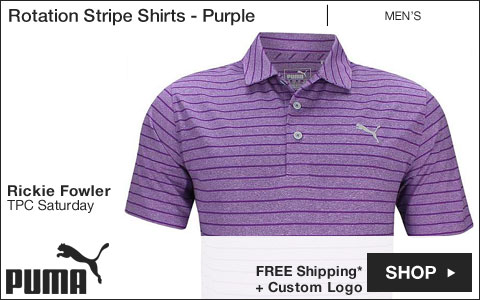 PUMA Rotation Stripe Golf Shirts - Purple - Rickie Fowler TPC Saturday